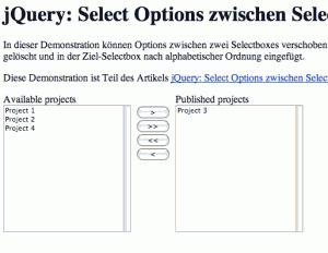 Zwei Selectboxes zwischen denen Options verschoben werden können.