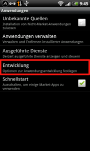 Device Einstellungen > Anwendungen > Entwicklung